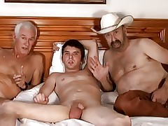 Cowboy, doyenne alms-man gather up close by young appealing lad
