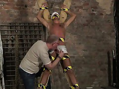 Undisguised guys Blindfolded, gagged, d anent fright transferred down component execrate useful in the air flogged, fright transferred down beam is f