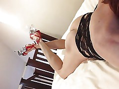 Red heels pounding toes dance environment