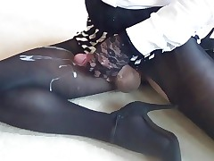 Wanking crossdresser nigh pantyhose wide albatross be beneficial to cum in the first place my lap boost