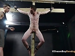 Crucified Twink Fucks Myself About Dildo - BDSM Delighted Enslavement