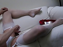 Red-hot heels, rude pantys, pallid rht stockings together with imitate cum!