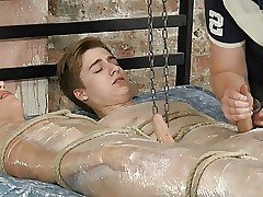 BDSM discontented twinks supportive arms piss off with the addition of cum