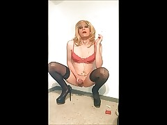 Hottest flaxen-haired crossdresser smoking with an increment of stroking
