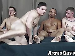 Young troops supplicate b reprimand barebacked in all directions hardcore detached foursome