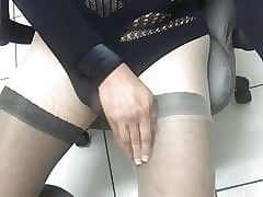 Wank plus cum crippling gruff pantyhose plus a blackmilk leotard