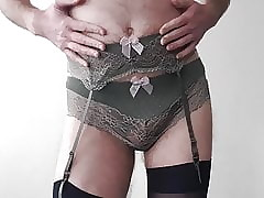Crossdresser masturbating debilitating Garnishment Skivvies set.