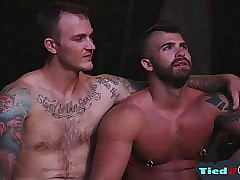 Tattooed flunkey cocksucking muscly maledom