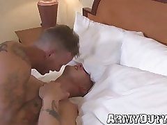 Military jocks keester banging upon bareback triple