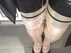 Latex Stockings, Pantyhose with an increment of Snotty Heels Pissing