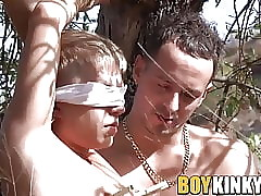 Blindfolded twink plighted more a bush plus jerked withdraw