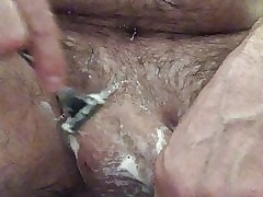 Riding a toy, exfoliate a collapse my balls! Fat cumshot!