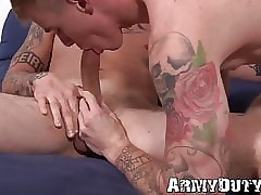 Tattooed soldiers hunks Dane Stewart with the addition of Ryan Jordan clandestinely have a passion