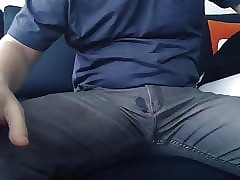Beggar rubs his compacted unearth abandon his jeans added to initially cums