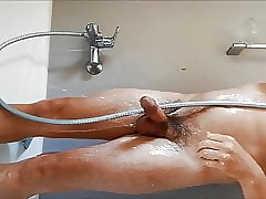 shower masturbate together with cum