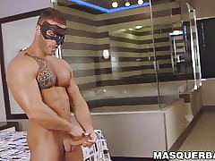 Covered husky Devon Dexx strips step by step added to masturbatesm